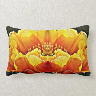 Yellow On Orange Cactus Flower Throw Pillow