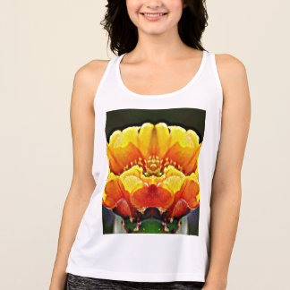 Yellow on Orange Cactus Flower Women's Tank Top