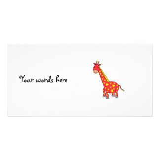 Yellow on red giraffe custom photo card