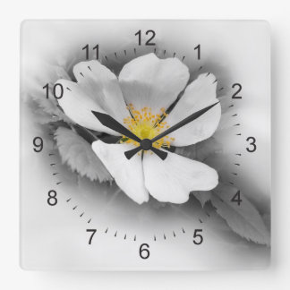 yellow on shades of gray square wall clock