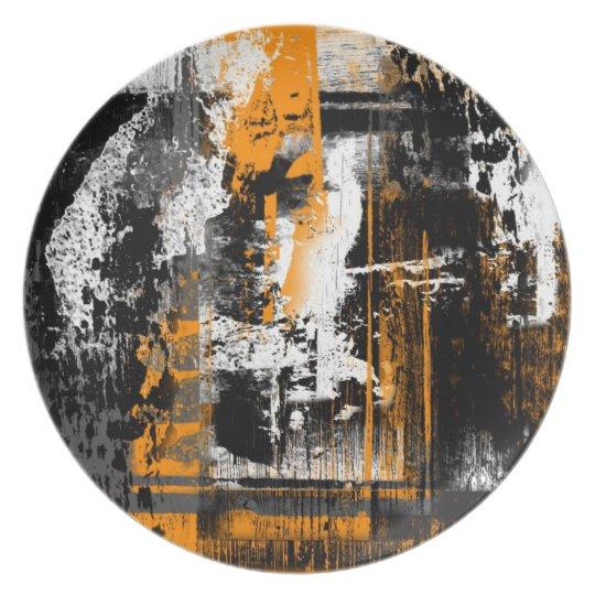 yellow orange abstract kline plate
