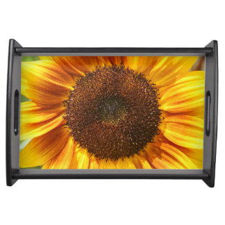 Yellow, Orange, and Brown Sunflower Serving Tray