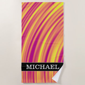 Yellow, Orange and Purple Curved Ripples Pattern Beach Towel