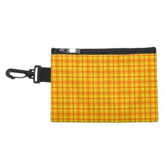 Yellow Orange and Red Retro Chequed Pattern Accessories Bag