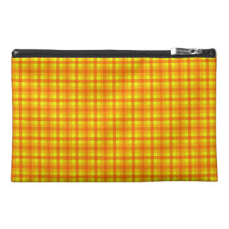 Yellow Orange and Red Retro Chequed Pattern Travel Accessory Bags