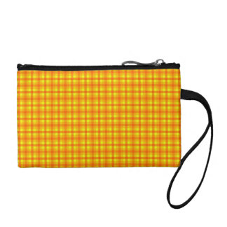 Yellow Orange and Red Retro Chequed Pattern Coin Wallets