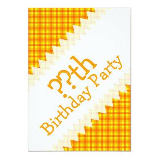 Yellow Orange and Red Retro Chequered  Birthday 13 Cm X 18 Cm Invitation Card