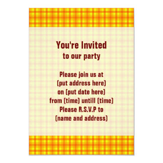 Yellow Orange and Red Retro Chequered Pattern 13 Cm X 18 Cm Invitation Card