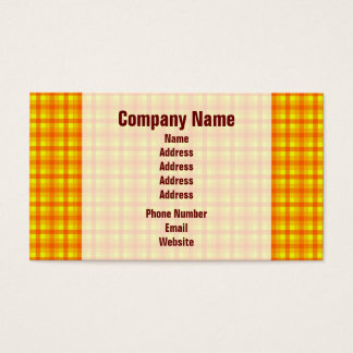 Yellow Orange and Red Retro Chequered Pattern Business Card