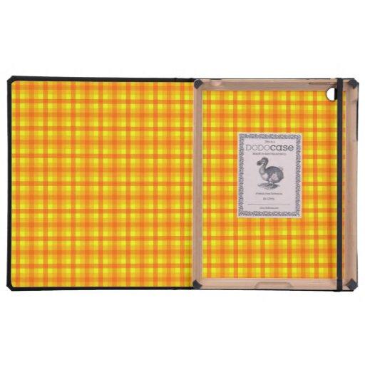 Yellow Orange and Red Retro Chequered Pattern iPad Cases