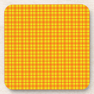 Yellow Orange and Red Retro Chequered Pattern Coaster