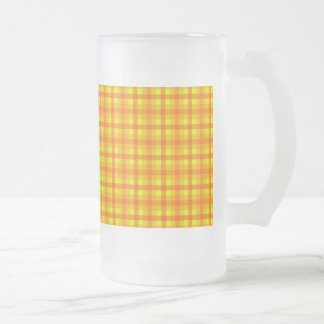 Yellow Orange and Red Retro Chequered Pattern Frosted Glass Beer Mug