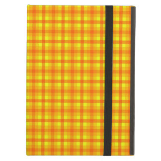 Yellow Orange and Red Retro Chequered Pattern iPad Case