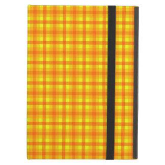 Yellow Orange and Red Retro Chequered Pattern iPad Case