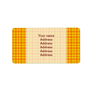 Yellow Orange and Red Retro Chequered Pattern Label