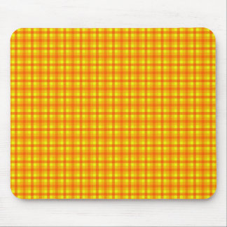 Yellow Orange and Red Retro Chequered Pattern Mouse Mat