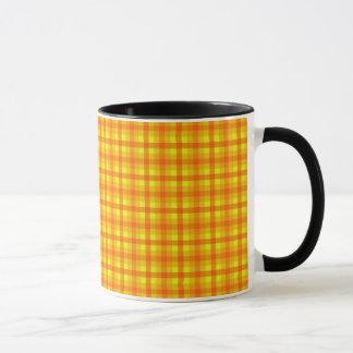 Yellow Orange and Red Retro Chequered Pattern Mug