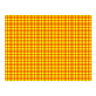 Yellow Orange and Red Retro Chequered Pattern Postcard