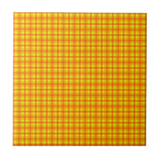 Yellow Orange and Red Retro Chequered Pattern Small Square Tile