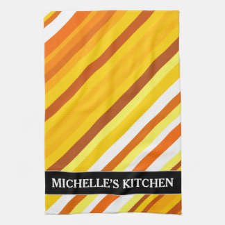 Yellow, Orange and White Sunset-Inspired Stripes Tea Towel
