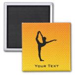 Yellow Orange Ballet Square Magnet