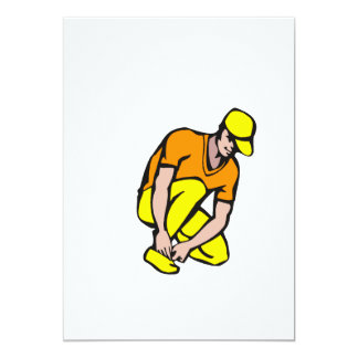Yellow orange baseball player 13 cm x 18 cm invitation card