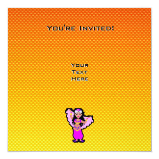 Yellow Orange Belly Dancer 13 Cm X 13 Cm Square Invitation Card