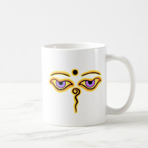 Yellow Orange  Buddha Eyes.png Coffee Mugs