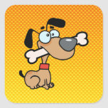 Yellow Orange Cartoon Dog Square Sticker