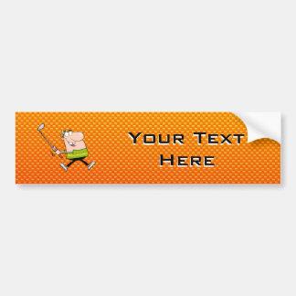 Yellow Orange Cartoon Golfer Bumper Sticker