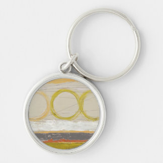 Yellow & Orange Circles on Multicolored Background Keychains