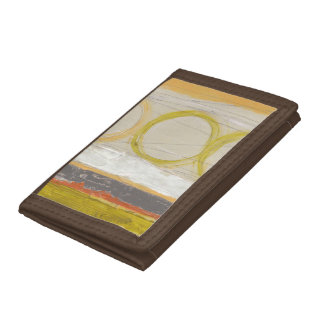 Yellow & Orange Circles on Multicolored Background Trifold Wallets