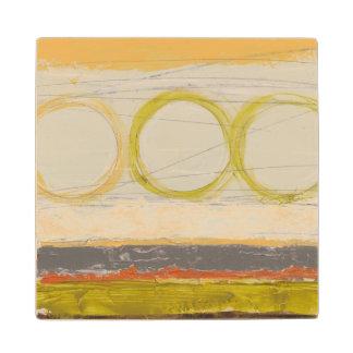 Yellow & Orange Circles on Multicolored Background Wood Coaster