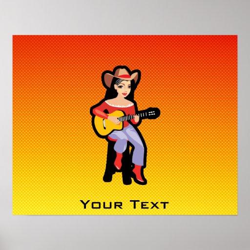 Yellow Orange Cowgirl with Guitar Print