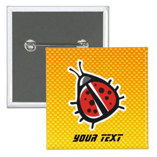 Yellow Orange Cute Ladybug Button