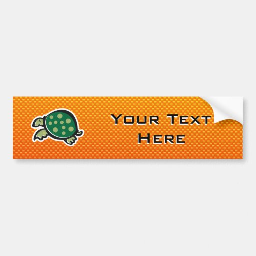 Yellow Orange Cute Turtle Bumper Sticker