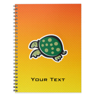 Yellow Orange Cute Turtle Spiral Note Books