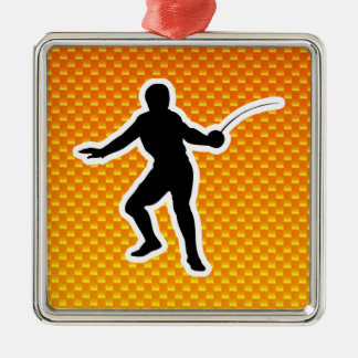 Yellow Orange Fencing Christmas Ornament