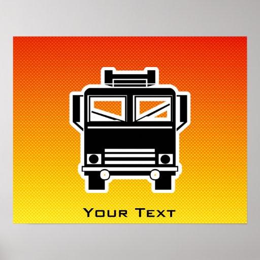 Yellow Orange Fire Truck Poster