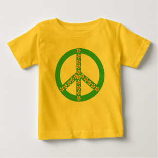Yellow/orange floral on green peace symbol infant T-Shirt
