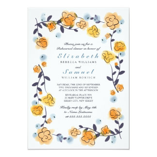 Yellow Orange Floral Rehearsal Dinner Invite