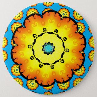 Yellow Orange Flower With Blue Background 6 Cm Round Badge