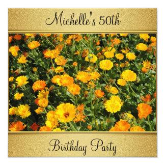 Yellow Orange Flowers Photo Gold 50th Birthday 13 Cm X 13 Cm Square Invitation Card