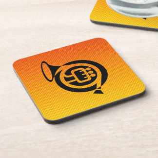 Yellow Orange French Horn Beverage Coaster