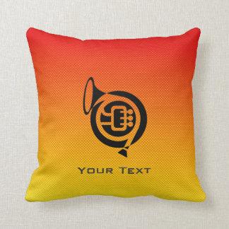 Yellow Orange French Horn Throw Pillow
