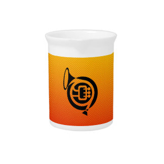 Yellow Orange French Horn Drink Pitcher