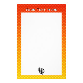Yellow Orange French Horn Personalized Stationery