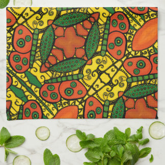 Yellow Orange Green Butterfly Pattern Tea Towel