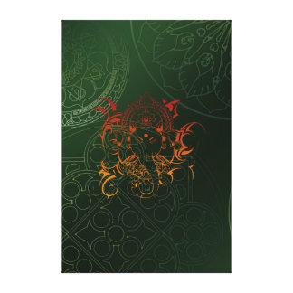 Yellow Orange Green Elephant Ganesha Mandala Stretched Canvas Print