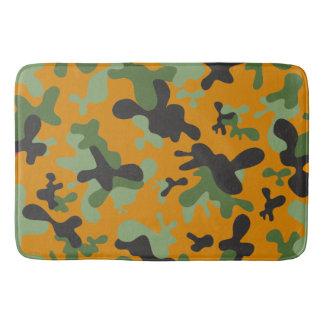 Yellow Orange Green Gray Black Camouflage Design Bath Mat